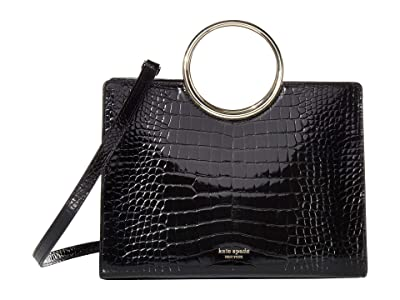 Kate Spade New York Sam Croc-Embossed Bracelet Medium Satchel (Black) Handbags