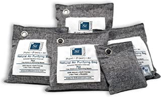 Bamboo Activated Charcoal Air Purifying Bags - 4 (200g) Pack Plus 50g Bonus bag, Upgraded with Activated Clay Moisture Absorber Beads, Air Freshener and Odor Eliminator, natural air purifiers for home