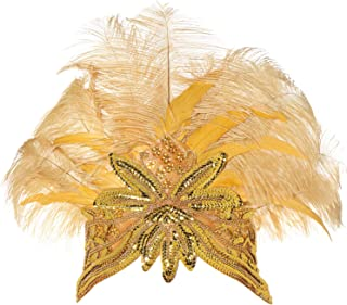 BABEYOND Women's Gold Feather Headband Indian Carnival Headpiece Pageant Headband 1920s Flapper Headband