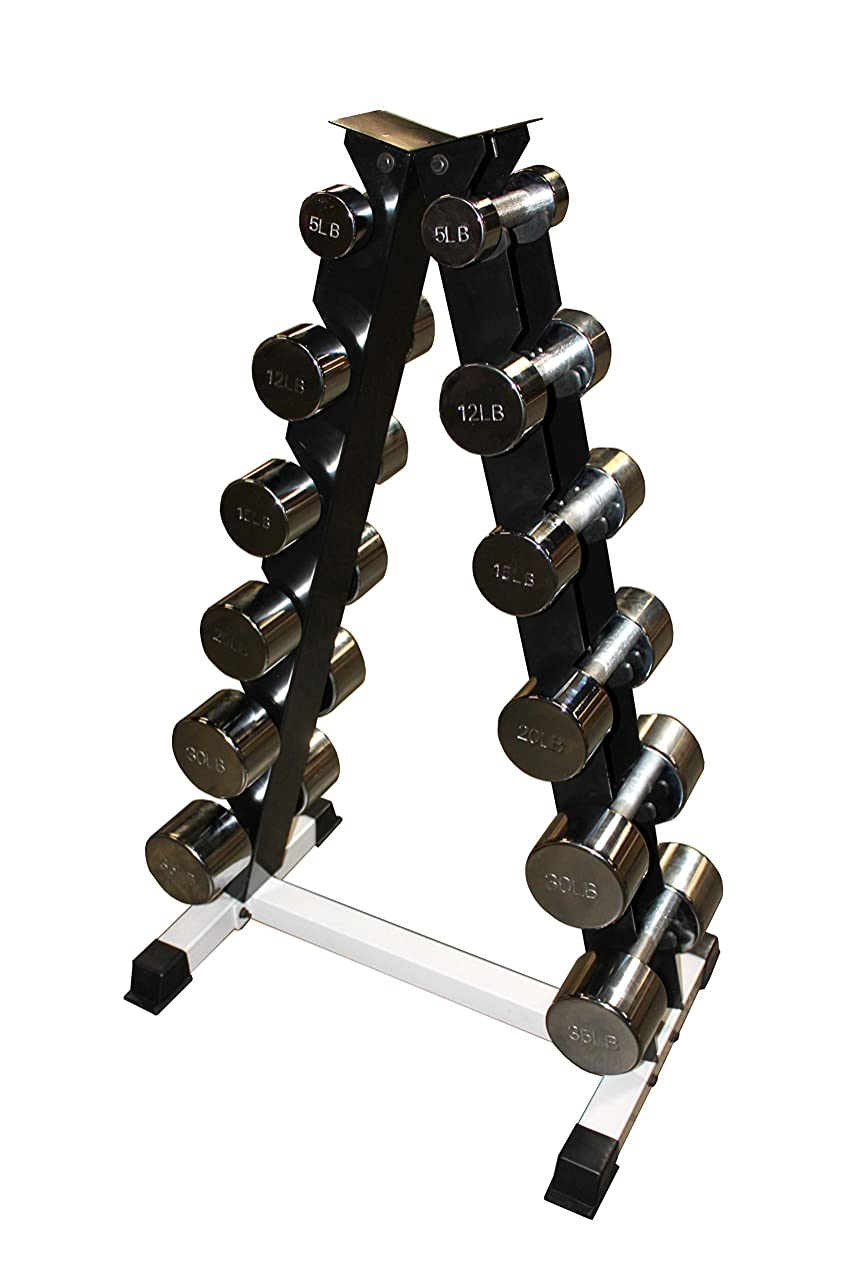 Ader Chrome Dumbbell Set w/ Rack- 5, 12, 15, 20, 25, 30Pound Pairs