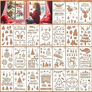 HOWAF Lot de 24 pochoirs de Noël de 11x 18 cm pour Loisirs créatifs, Scrapbooking, Dessin, Impression, pochoirs de Noël, U...