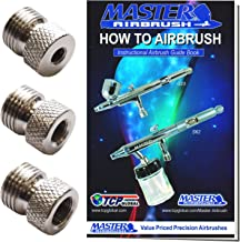 Master Airbrush Brand Airbrush Fitting Conversion Adapters for Paasche Badger & Aztec Airbrushes; Converts Threads Size to 1/8 BSP Size Threads; Hose Adapter Connector; Airbrush Guide Booklet