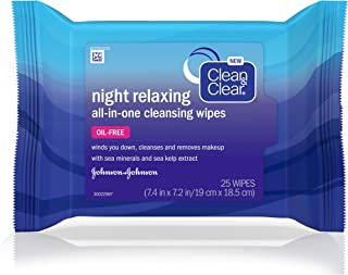 Clean&Clear Night Relaxing Cleansing Wipes, 25 Count
