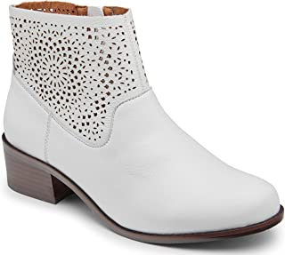 Women's Hope Luciana Perforated Detailed Ankle Booties - Ladies Comfortable Walking Boots with Concealed Orthotic Arch Support