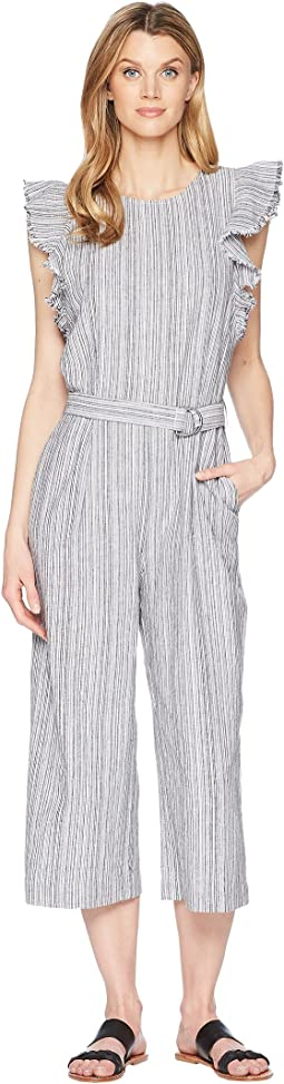 Ruffled Sleeveless Belted Stripe Linen Jumpsuit