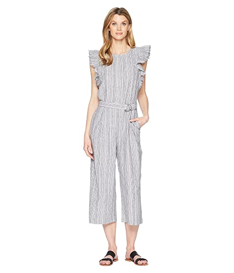 fd4c56e7cff TWO by Vince Camuto Ruffled Sleeveless Belted Stripe Linen Jumpsuit ...