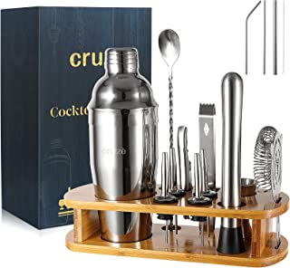 Cocktail Shaker Bar Mixer Set-Professional Bartender Premium Stainless Steel 25oz. Perfect For Homemade Party Drinks with ...