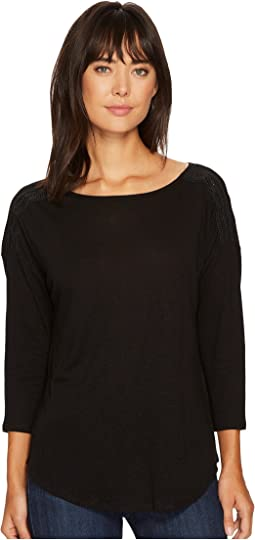 NYDJ - Knit Top w/ Faux Leather Trim