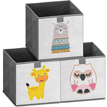 Navaris Lot 3x Boîte de Rangement - 3x Bac Pliable 28 x 28 x 28 cm pour Stockage Jouets Vêtements Fournitures et Accessoires pour Bébé Enfant