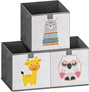 Navaris Lot 3x Boîte de Rangement - 3x Bac Pliable 28 x 28 x 28 cm pour Stockage Jouets Vêtements Fournitures et Accessoir...