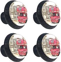 Rode Dubbele Decker Bus Londen UK Ronde Ladeknop Trek Handvat Kast Knoppen 4 stks met Schroeven voor Thuiskantoor Keuken D...
