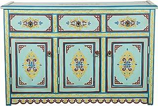 Casa Moro | Mueble aparador de madera con adornos coloridos Hatim estilo marroquí oriental muebles 3 cajones 3 puertas ...