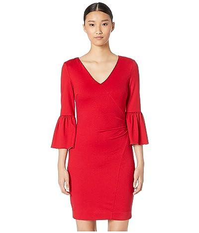 Nicole Miller Ponte Bell Sleeve Dress (Lipstick Red) Women