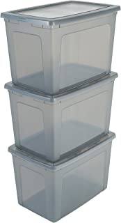 Iris Ohyama, Set of 3 storage boxes with lid - Modular Clear Box - MCB-70, plastic, Grey, 70 L, L59.5 x W39.5 x H38.5 cm