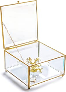 Vintage Golden Glass Keepsake Box Jewelry Holder Desktop Organizer, Decorative Accent, Vanity, Wedding Bridal Party Gift, Candy Table Décor Jars & Square Glass Boxes, Beveled Glass, Gold, 6