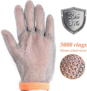 Cut Resistant Metal Chainmail Glove for Hand Safety, Stainless Steel 316 Mesh Metal Gloves for Anti-cutting Protective, Butcher, Oyster, Garment, Meat, Knife Glove (Extra Large)