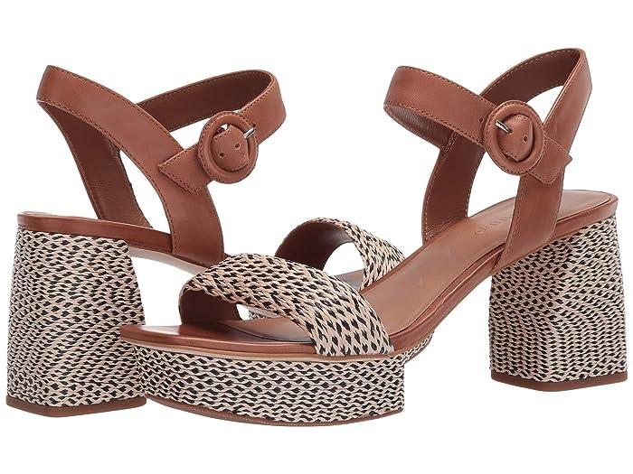 Bernardo  Reagan Heeled Sandal (Natural/Black Multi Raffia) Womens Sandals