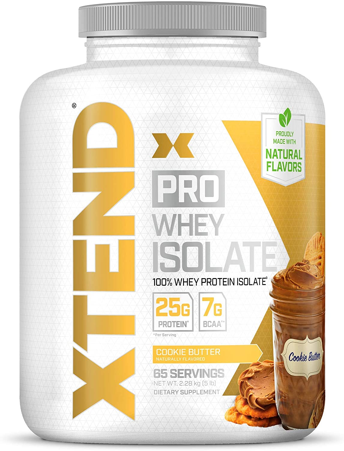 XTEND Pro Protein Powder Cookie Butter   100% Whey Protein Isolate   Keto Friendly + 7g BCAAs with Natural Flavors   Gluten Free Low Fat Post Workout Drink   5lbs