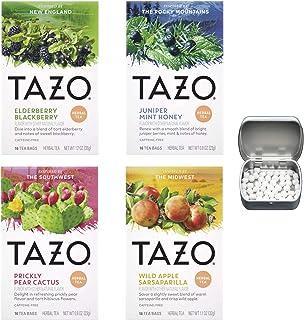 Herbal Tea Variety 4-Pack of Elderberry Blackberry, Juniper Mint Honey, Prickly Pear Cactus, Wild Apple Sarsaparilla Bundl...