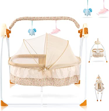Baby Cradles Bedside Bassinet - Portable Crib Easy to Assemble Rocking Bassinet with Breathable Net Detachable Washable Mattr