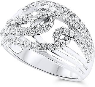 14k White Gold Diamond Braid Cocktail Ring