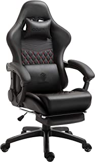 Dowinx Gaming Chair Office Chair PC Chair with Massage Lumbar Support, Racing Style PU Leather High Back Adjustable Swivel Task Chair with Footrest (Black&Red)