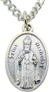 Westman Works St Nicholas Christmas Saint Medal 3/4 Inch Long with Stainless Steel Chain