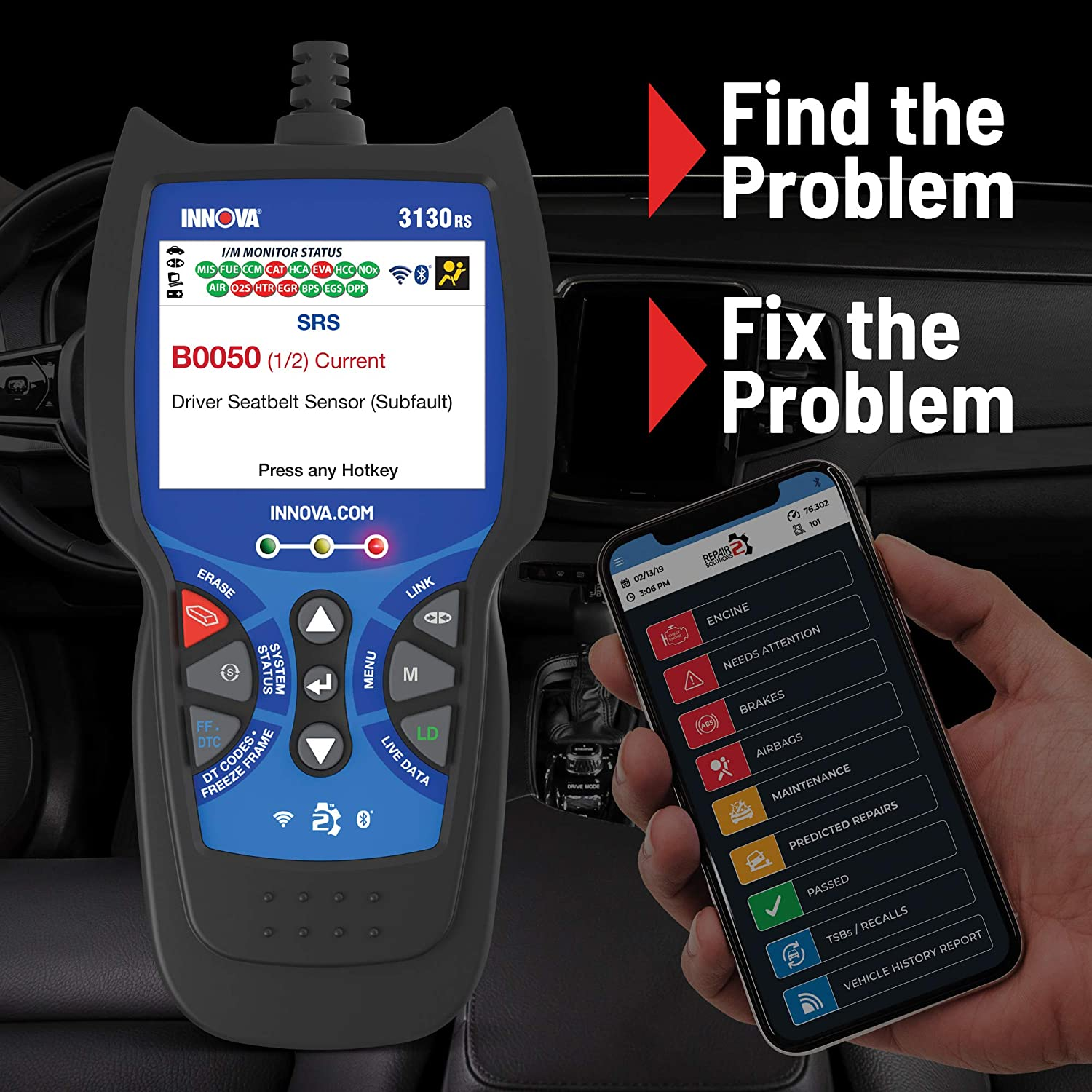 Live Data SRS Service Light Reset Innova 3130RS OBD2 Scanner // Car Code Reader with ABS and Network Scan