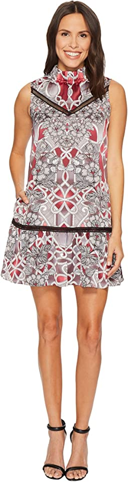 Laundry by Shelli Segal - Printed Mock Neck A-Line Dress