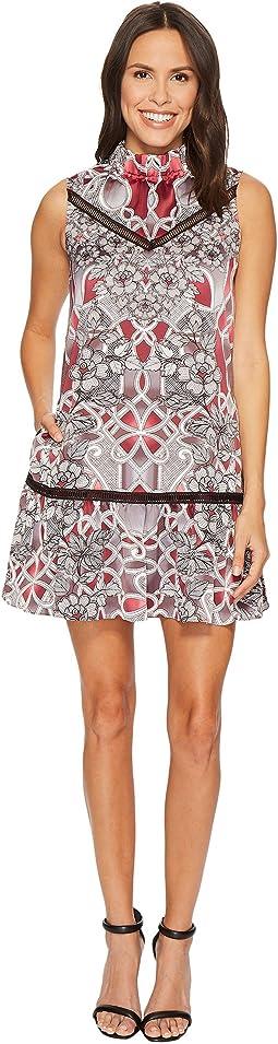 Printed Mock Neck A-Line Dress