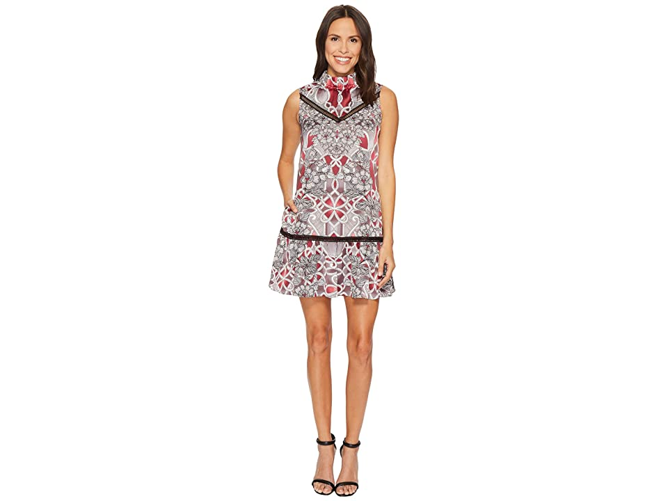 Laundry by Shelli Segal Printed Mock Neck A-Line Dress (Tinted Blush) Women