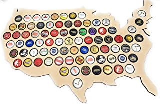 CreaTech Wooden USA Map Beer Cap Decor Collectors Holder - 68 Beer Cap Display