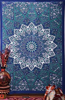 GLOBUS CHOICE INC. Blue Psychedelic Tapestry Hippie Star Elephant Tapestry Wall Hanging Mandala Tapestry Dorm Decor Indian Cotton Bohemian Bedspread Bedding Bed Cover