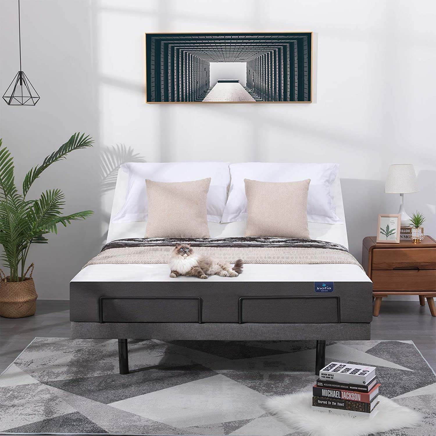 OFFer Inofia Adjustable Bed Frame Queen with Fashion Wirele App Size Control