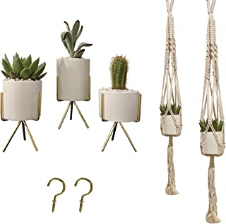 ViridescentWorld Handmade Macrame Plant Hangers with Ceramic Pots and Iron Stand Wonderful Home Boho Decor for Outdoor and Indoor Succulent Plants/Flowers