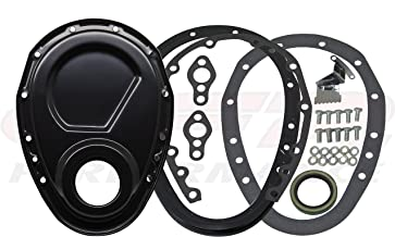 1955-65 Compatible/Replacement for CHEVY SMALL BLOCK 283-305-327-350-400 STEEL 2-PIECE TIMING CHAIN COVER SET - BLACK