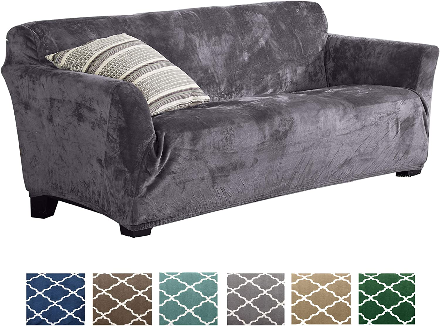 Form Fit, Slip Resistant, Stylish Furniture Shield Predector Featuring Velvet Plush Fabric Magnolia Collection Strapless Slipcover (Sofa, Grey)