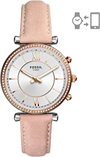 Fossil Womens Carlie Stainless Steel Hybrid Smartwatch Watch, Color:Beige (Model: FTW5039