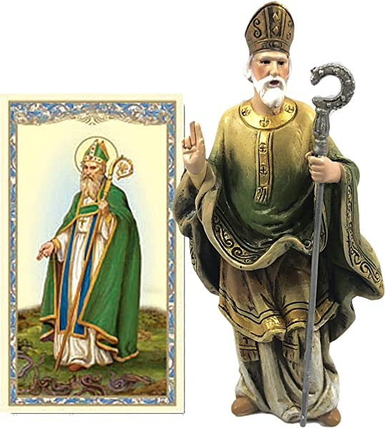 Elysian Gift Shop Saint Patrick 4 Resin Statue With Laminated Prayer Card Included Irish Patron Religious Figure