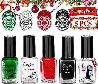 Nail Stamping Polish - Upgrade 4 Bottles Christmas Nail Art Lacquer Polish Green Red Black White Nail Plate Polish Varnish and Free Fast Drying Top Coat for Manicure Printing