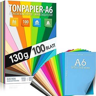 100 feuilles de PAPIER CLINKY - papier de couleur DIN A6-130g / m² set 20 couleurs - accessoires pour la confection d'albu...