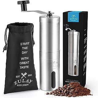 Zulay Kitchen Rostfritt stål manuell burr justerbar kaffekvarn