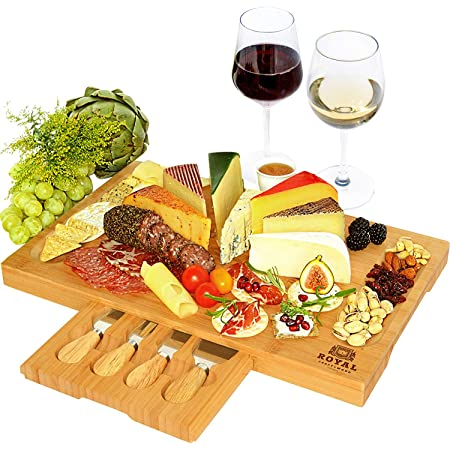 Unique Bamboo Cheese Board, Charcuterie Platter & Serving Tray Including 4 Stainless Steel Knife & Thick Wooden Server - Fancy House Warming Gift & Perfect Choice for Gourmets (Bamboo)