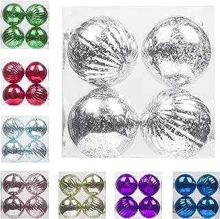 "KI Store Christmas Ball Ornaments Hanging Tree Ornament Decorations 4"" Large Shatterproof Vintage Mercury Balls(Silver)"