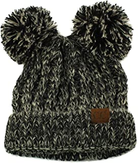 CC Winter Cute 2Pom Pom Ears 2tone Soft Warm Thick Chunky Knit Beanie Hat Black