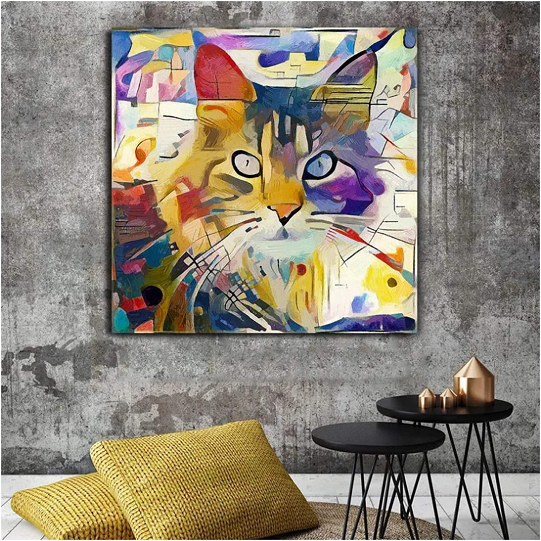 Cuadros Coloridos de Animales de Gato Kandinsky Pintura al óleo Abstracta Lienzos Carteles e Impresiones Cuadros Cuadros de Arte de Pared para Sala de Estar 70x70cm (28x28in)