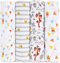 aden + anais Disney, Swaddle Blanket | Boutique Muslin Blankets for Girls & Boys | Baby Receiving Swaddles | Ideal Newborn & Infant Swaddling Set | Perfect Shower Gifts, 4 Pack, Winnie the Pooh