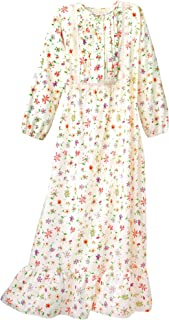 Image of Beautiful Women's Full Length Floral Print Flannel Night Gown