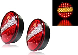 Nrpfell 2Pcs 4 Round Truck Trailer LED Tail Stop Brake Lights Red and Amber Parking Turn Signal Lights for Truck,RV,Trailers,Camper,Boat,Caravans Etc