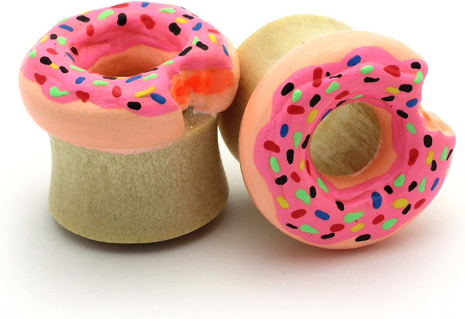 Pink Doughnut with Sprinkles Double Flare Tunnel Organic Wood Ear Plug Body Piercing Jewelry Pair